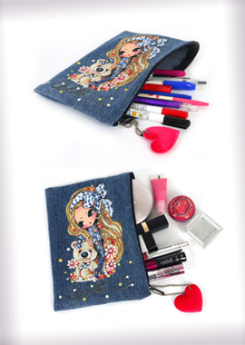 140-PPDenim Multi Pouch/Pencil Pouch데님 멀티파우치